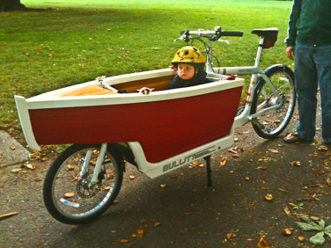 a bullitt cargobike turned into a boat